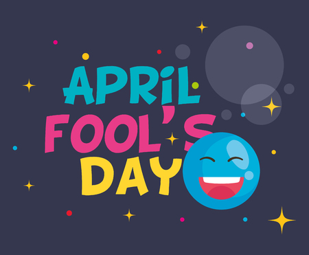april fools day card with happy face vector illustration design