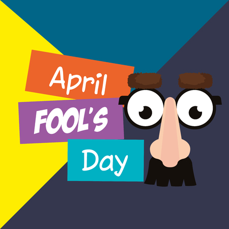 april fools day card with comic face accessories vector illustration design