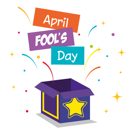 april fools day card with surprise box vector illustration design
