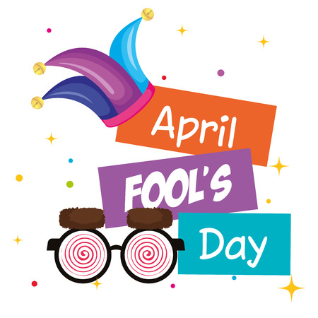 april fools day card with joker hat vector illustration design