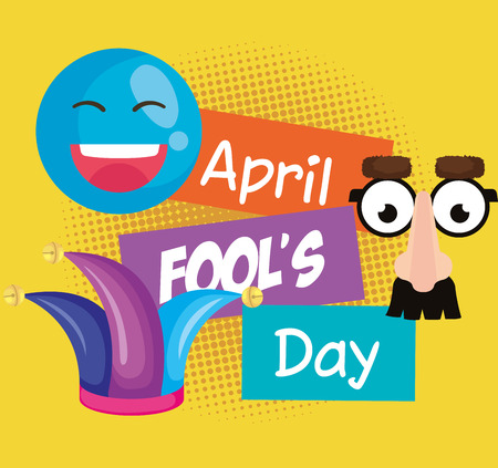 april fools day set icons vector illustration design