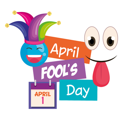 april fools day card with happy face vector illustration design 向量圖像