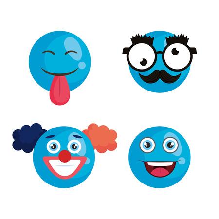 april fools day set icons vector illustration design