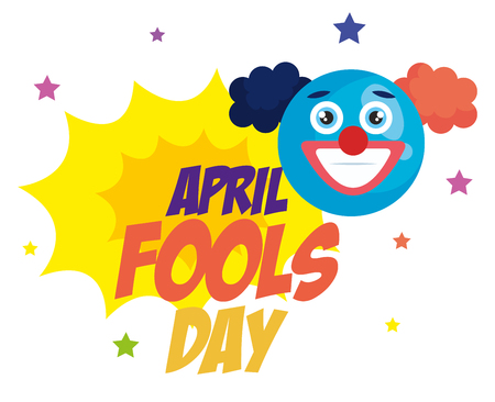 april fools day card with clown face vector illustration design