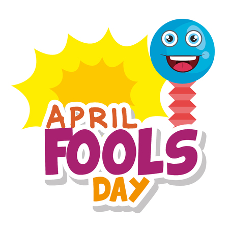 april fools day card with happy face vector illustration design 일러스트