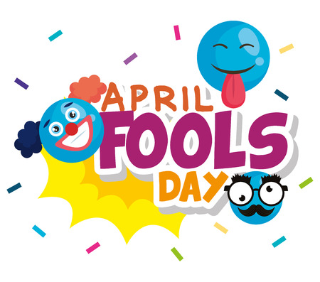 april fools day card with happy face vector illustration design Ilustrace