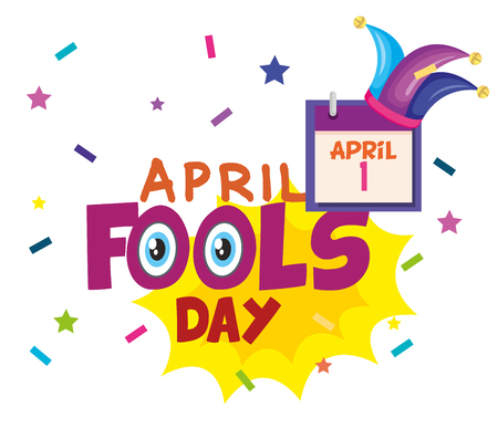 april fools day card with joker hat vector illustration design