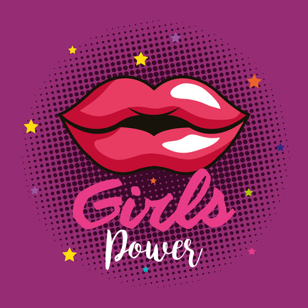 power girl card with woman lips vector illustration design