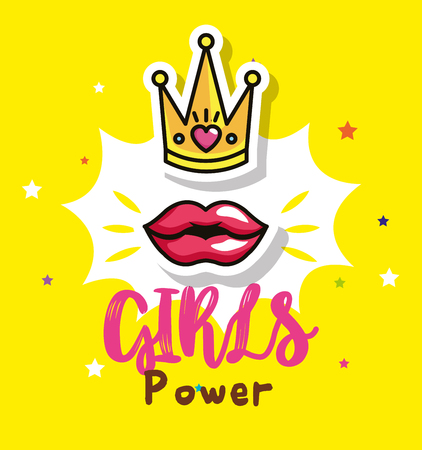 power girl card with queen crown vector illustration design