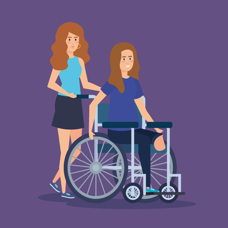 person with disabled woman sitting in the wheelchair vector illustration Stock Illustratie