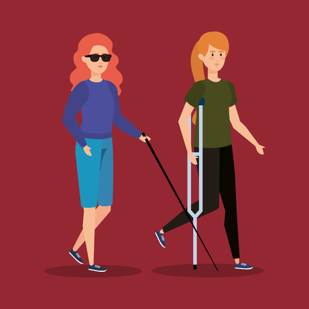 blind woman blind and person with crutches vector illustration