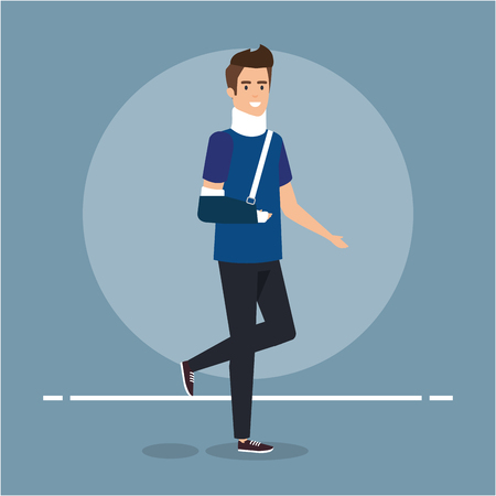 man disabled with hand fracture and orthopedic collar vector illustration  イラスト・ベクター素材