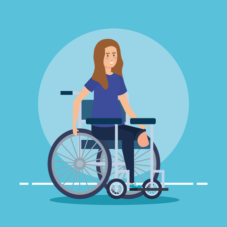 woman sitting in the wheelchair without leg vector illustration