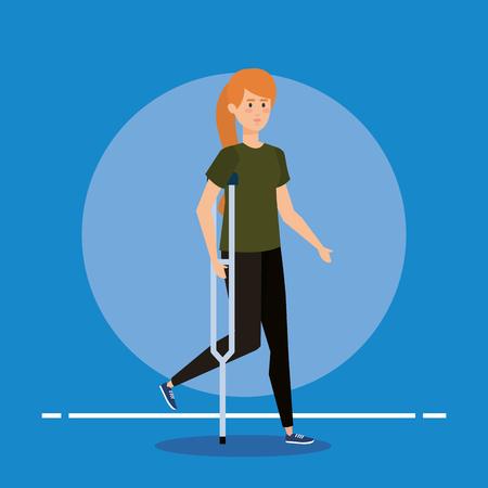 donna che cammina con le stampelle per l'illustrazione vettoriale di riabilitazione speciale
