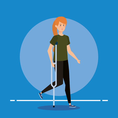 woman walking with crutches to special rehabilitation vector illustration Stock Illustratie