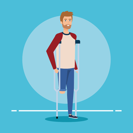 disabled man with crutches without leg vector illustration