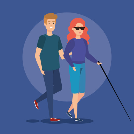 person and blind woman with stick and sunglasses vector illustration