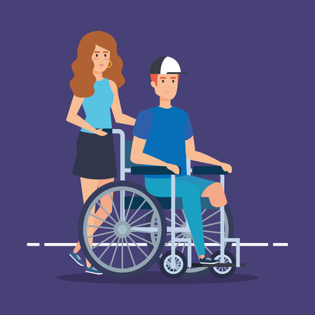 person with disabled man sitting in the wheelchair vector illustration Illustration