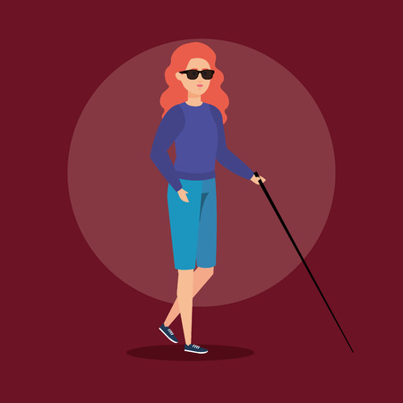 disabled woman blind with stick and sunglasses vector illustration Illustration