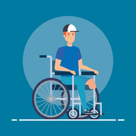 disabled man sitting in the wheelchair without leg vector illustration Çizim