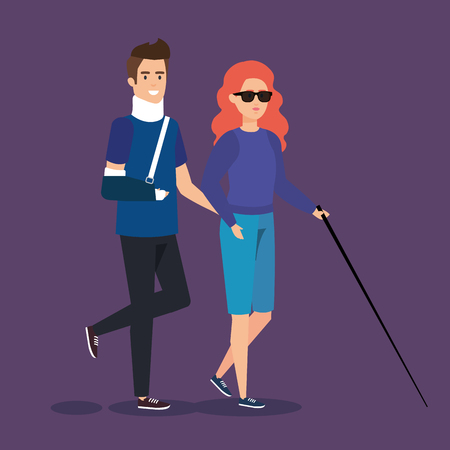 man with orthopedic collar and blind woman vector illustration 向量圖像