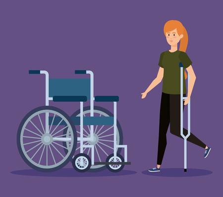 disabled woman walking with crutches and weelchair vector illustration Stock Illustratie