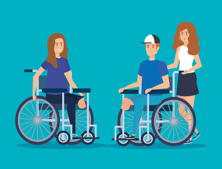 disabled woman and man with physical injury vector illustration