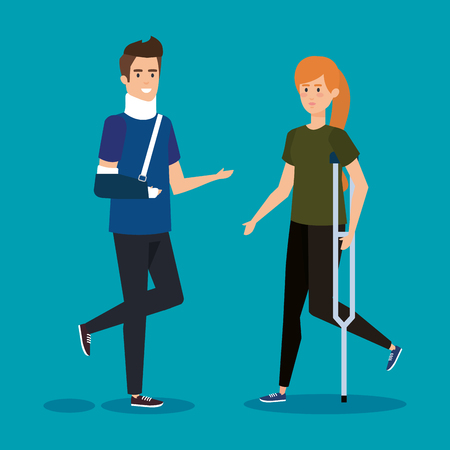 man with orthopedic collar and woman with crutches vector illustration