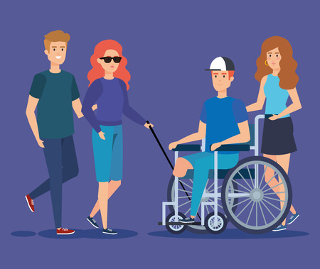 disabled people with physical injury and determination vector illustration