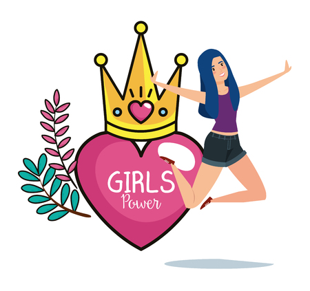 power girl jumping celebrating with crown and heart vector illustration design