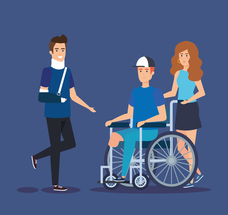 man with hand fracture and person sitting in the wheelchair vector illustration Illustration
