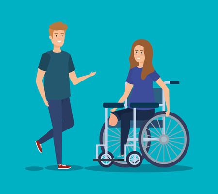 person and disabled woman sitting in the wheelchair vector illustration