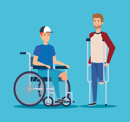 disabled men with physical injury rehabilitation vector illustration