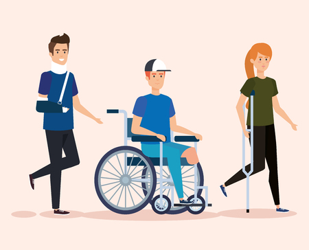 disabled people with physical injury therapy vector illustration
