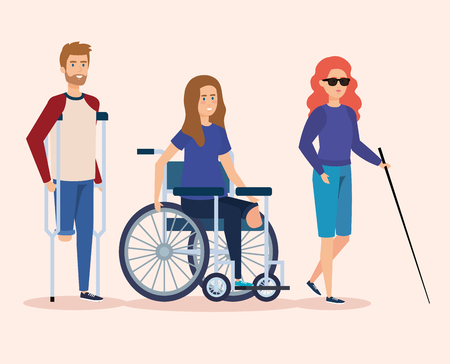 disabled people with physical injury rehabilitation vector illustration