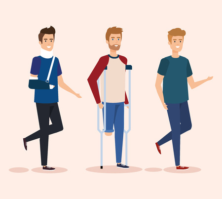 disabled men with physical injury therapy vector illustration