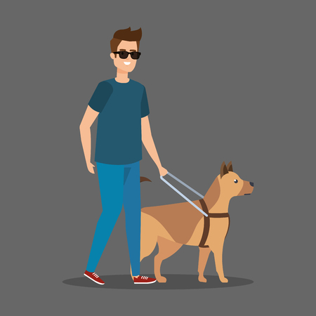 disabled man blind wearing sunglasses with dog vector illustration