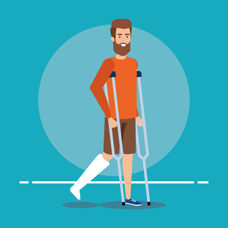 disabled man walking with crutches for leg fracture vector illustration Çizim