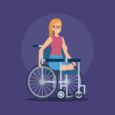 disabled woman sitting in the wheelchair without legs vector illustration