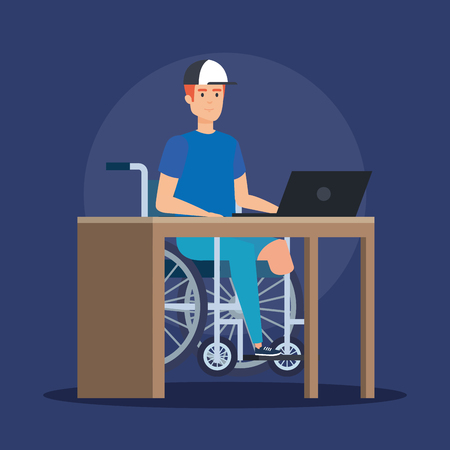 disabled man sitting wheelchair and working with laptop vector illustration Ilustracja