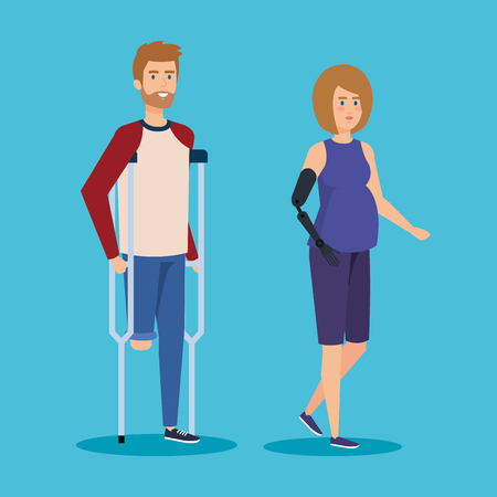 man walking with crutches and woman with hand prosthesis vector illustration Stock Illustratie