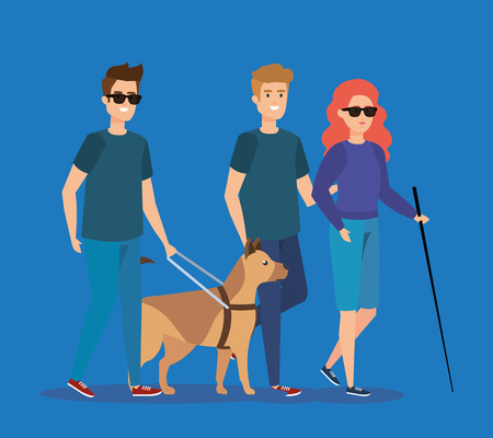 disabled people wearing sunglasses with dog and stick vector illustration