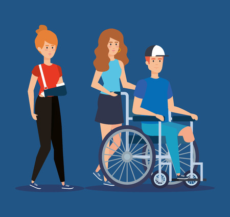woman with hand fracture and man sitting in the wheelchair vector illustration