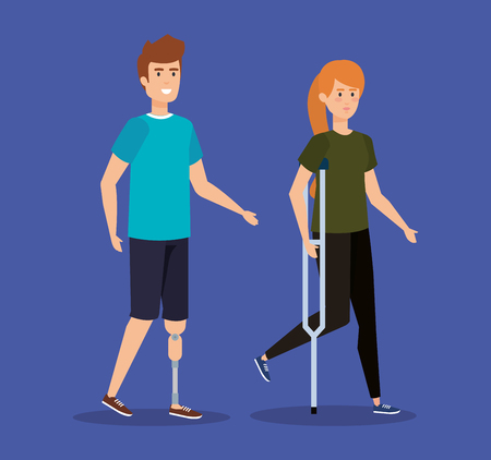 man with leg prosthesis and woman walking with crutches vector illustration