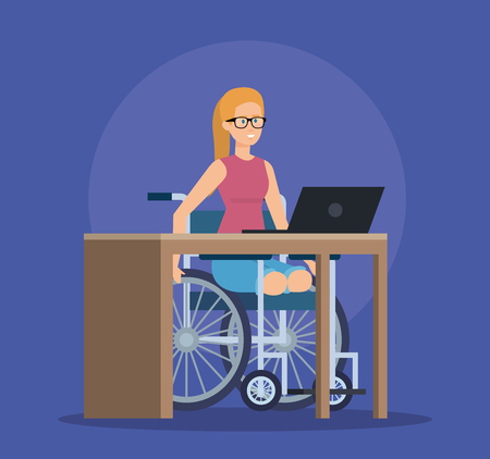 disabled woman sitting in the weelchair with laptop vector illustration