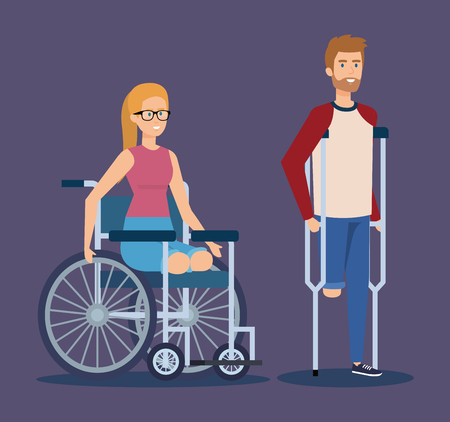 man with crutches and woman sitting in the wheelchair vector illustration