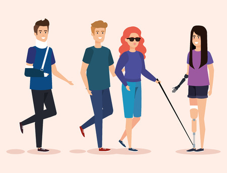 disabled people with physical rehabilitation of injury vector illustration