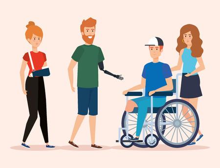 Menschen mit körperlicher Rehabilitation und Gesundheitsbeeinträchtigung, Vektorillustration