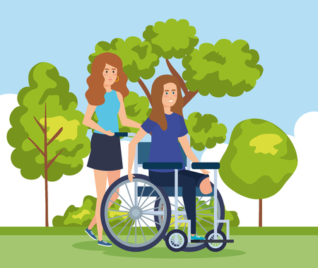 woman sitting in wheelchair without leg and cityscape vector illustration Stock Illustratie