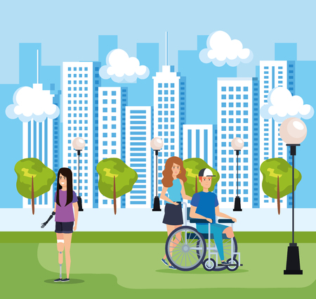 woman and man with physical injury and cityscape vector illustration